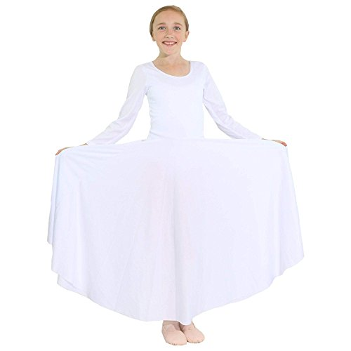 Danzcue Girls Praise Loose Fit Full Length Long Sleeve Dance Dress, White, 12-14