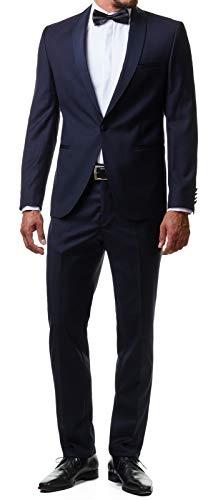 Paco Romano Herren Smoking Anzug Jacket Sakko Hose Schwarz 2-Teilig Slim Fit Premium Cotton 80% Wolle Gentleman Hochzeit Feier Dinner 67712, Farbe:Dunkelblau, Größe:50 / M