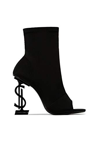 """Fabricated heel Heel height: 3.75"""" Peep toe - ankle high - pull up heel - money sign emblem on the heel Cushioned insole - shoe height: 9"""" True To Size"""