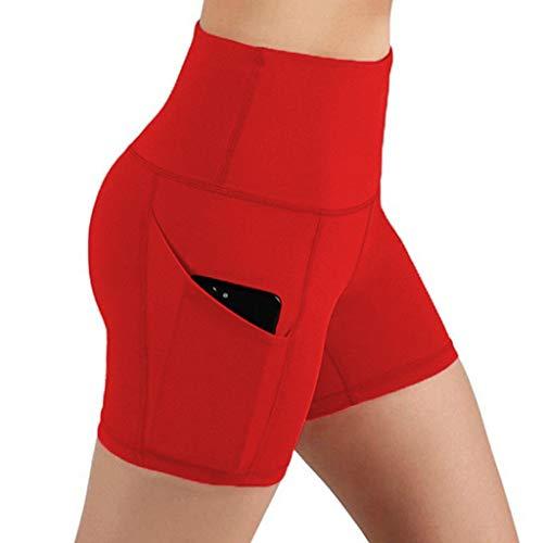 Andouy Damen Sport Leggins Hohe Taille 3/4 Yogahose Blickdichte Laufhos Fitness Shorts Jogginghose mit Taschen(M.Rot)