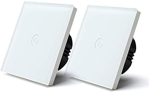 LXDZXY Interruttore Luce tattile Interruttore tattile Luce 2 Pezzi Interruttore a Parete Intelligente 1 Gang 1/2/3 Vie Interruttori Wireless Interruttore casa Intelligente