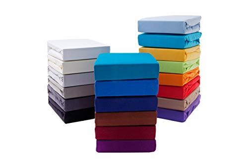 Premium Boxspringbett Spannbettlaken Spannbetttuch Wasser- und Boxspringbetten 190 g/m² ÖKO-TEX Standard (Aubergine, 180-200 x 200-220 cm (BxL) Steghöhe bis zu 40 cm)