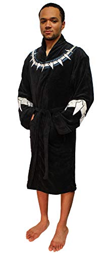Marvel Universe Mens Black Panther Fleece Costume Bathrobe