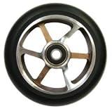Chilli Pro Scooter Wheels 120mm Urethane - 6 Spoke Pro Scooter Replacement Wheels - Black Pro Scooters Wheels & ABEC 9 Bearings w/ Aluminum Hubs - Freestyle Stunt Scooter Wheel - (1 Single Wheel)