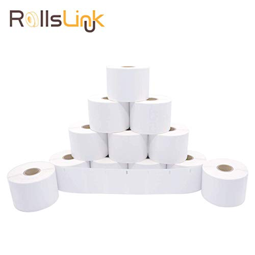 """[12 Rolls, 1000/Roll] RollsLink DY 30334 Compatible Medium Multipurpose/Barcode/FNSKU/UPC/FBA Labels, White 2-1/4"""" x 1-1/4"""" Replacement Labels for LW Labelwriter 450, 450 Turbo, 4XL"""