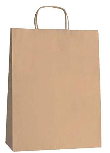 Yearol K10 50 Bolsas papel kraft marron con asa rizada. 30 * 22 * 9 Especial para regalo, comunion, eventos, bodas, cumpleaños, comercio, compra, venta, manualidades, embalaje, transporte. Base plana