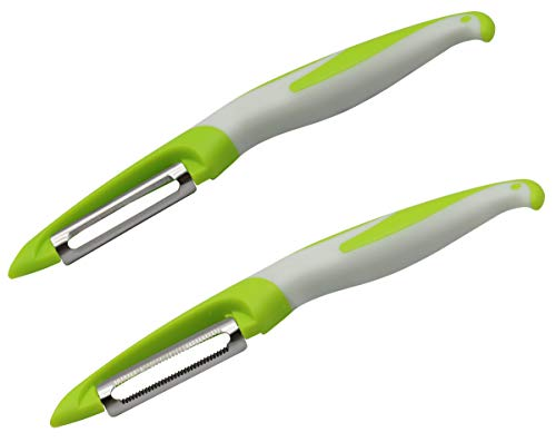 AAOTOKK 2 Pack Peeler Set Stainless Steel for Potatoes Apples Carrot Cucumbers Fruit & Veggies in Kitchen, Easy to Peel and Clean,P Shape Peeler Safe to Use. (P- Serrated/Flat Blade)