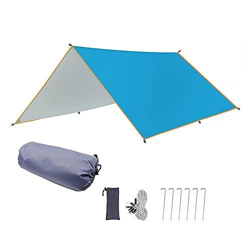 MiOYOOW Lona para tienda de campaña, 10 x 10 pies de lona de camping resistente al agua refugio de supervivencia sombrilla tienda huella para senderismo camping mochilero