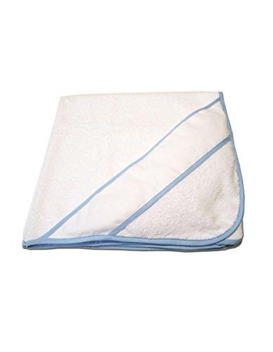 PURALGO-puro algodón. Toalla para bebés de punto de cruz, con gorrito. (blanco/ribete azul)