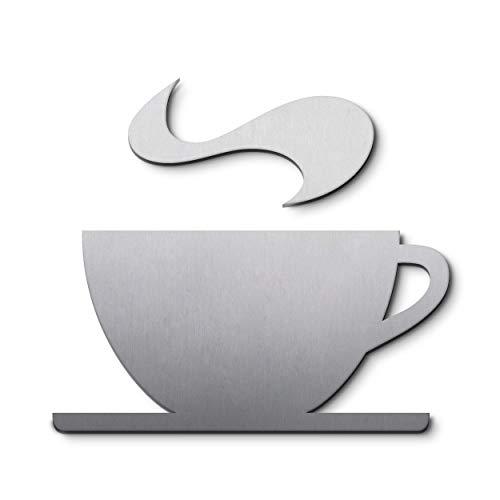 PHOS Edelstahl Design, P3701, Piktogramm Café Kaffee Cafeteria, 9,2 x 8,5 cm, Edelstahl gebürstet, selbstklebend, 100% Made in Germany, Werbeschild, Türschild, Kaffeeservice, Bistro, Symbol