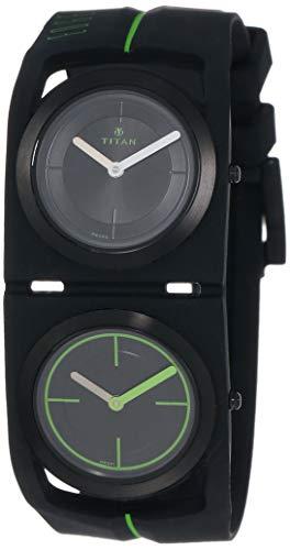 Titan Men's 'Edge Sport Dual Time' Quartz Rubber and Silicone Watch, Color:Black (Model: 1653NP03)