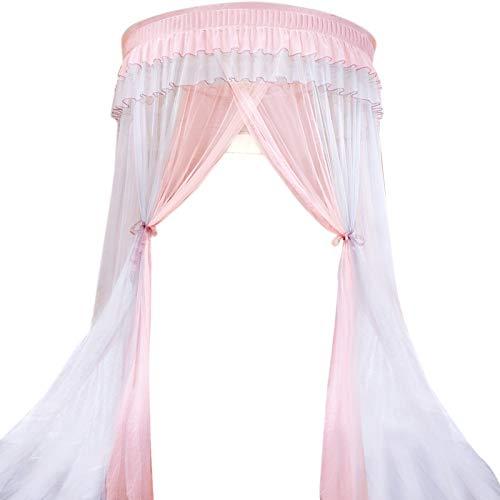 Iycorish Dosel de Cama Colores Dobles Colgado Mosquitera Princesa Cama Tienda Cortina Toldo Plegable en la Cama Elegante Hada Encaje 4