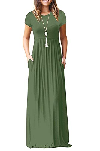 AUSELILY Women Solid Plain Short Sleeve Loose Casual Long Maxi Dresses with Pockets Olive (S,Army Green)