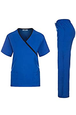 MedPro Women's Contrast Trimmed Solid Medical Scrub Set Mock Wrap Top and Cargo Pants Royal & Black L