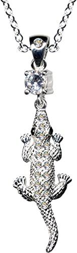 Collar de plata de ley 925 con colgante de cocodrilo, alligador, cadena de plata de ley 925, cristales de circonita, brillantes, color blanco, hermoso, extravagante, colgante 54045
