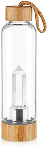 Botella de Agua de Cristal de Cuarzo Natural con Centro de Piedras Preciosas Decorado con Varita de Cristal de Cuarzo Natural para Agua de Gemas con infusion de cristaleria,