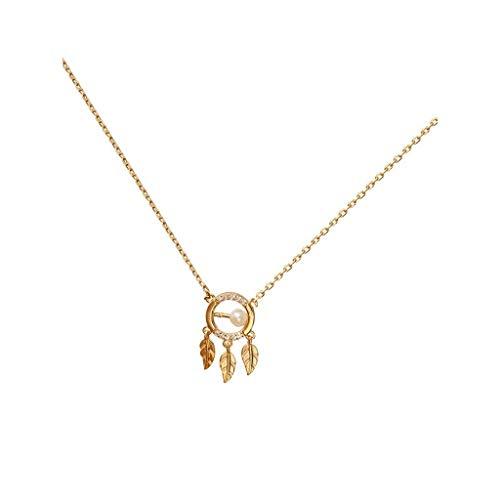 QZH Collares para Mujeres niñas Perla Natural atrapasueños Elemento Collar Plata Mujer Retro clavícula Cadena Marea Collar Gargantilla Collares