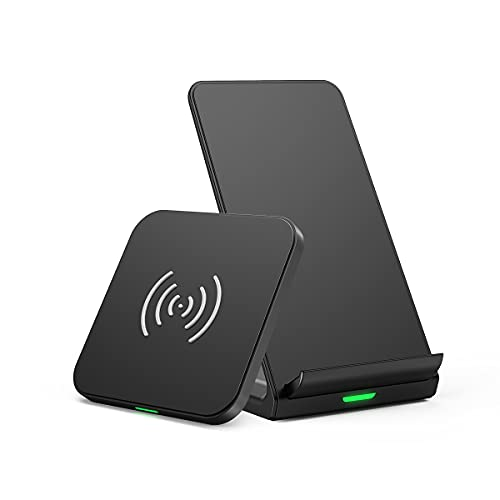 Wireless Charger 2 Pack, Qi-Certified 10W Fast Max Wireless Charging Pad Stand Bundle Compatible with iPhone 12/12 Pro/SE /11/11 Pro/11Pro Max/XS, Galaxy S20+/S10/Note 10, Qi-Certified Phone, AirPods