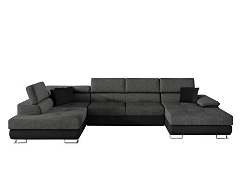Ecksofa Cotere BIS LED Beleuchtung mit Fernbedienung Eckcouch Sofa mit Schlaffunktion und Bettkasten U-Form Couch Wohnlandschaft vom Hersteller (Soft 011 + Lux 06 + Soft 011, Seite: Links)
