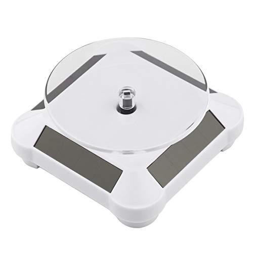 Fontsime ファッショナブルなソーラーパワーバッテリー360度ターンテーブル回転ディスプレイスタンドウォッチリングネックレスジュエリースタンドホルダー