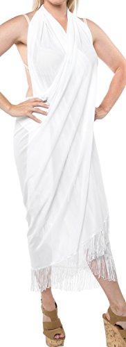 LA LEELA Christmas Kostüme Weihnachtsmann Geschenke Badeanzug einpacken Damen Pareo Bademode Sarong hawaiische Vertuschung Rock Bademoden Badeanzug Weiß_H208 eine Größe: Länge: 78