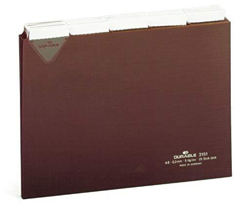 Durable 315111 Leitkarten DIN A5 quer (mit beschriftbaren Taben) 5/5-Teilung braun