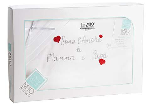 Mio - Juego de sábanas para cuna de bebé recién nacido, 100 % algodón, fabricado en Italia, artesanales, para regalo gris