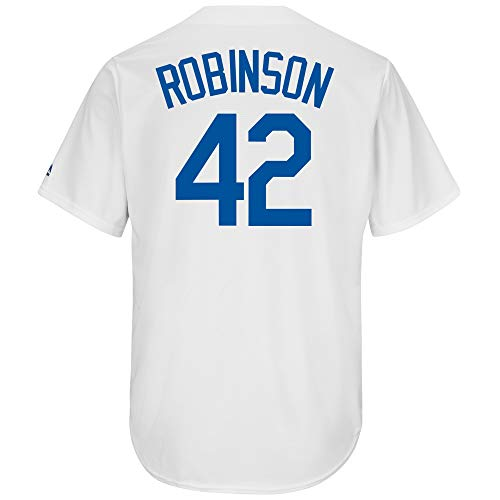 Majestic Jackie Robinson Brooklyn Dodgers #42 Youth Cool Base Cooperstown Home Jersey (Youth Small 8)
