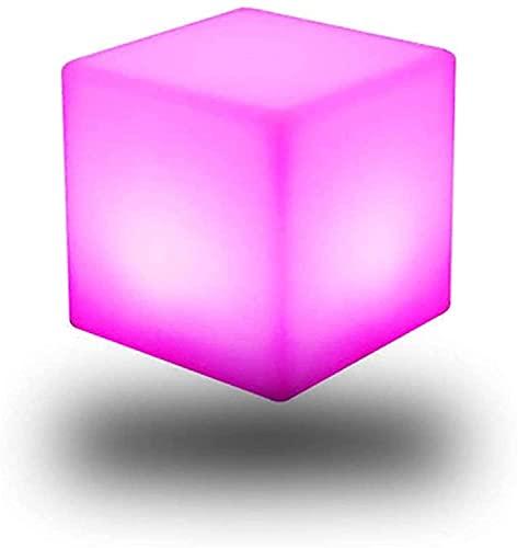 Paddia Luz de Cubo LED, Taburete/Mesa de té de 16 Colores y 4 Modelos con Control Remoto, Taburete de plástico PE Brillante, módulo LED Impermeable Recargable para Exteriores para el hogar, jardín,