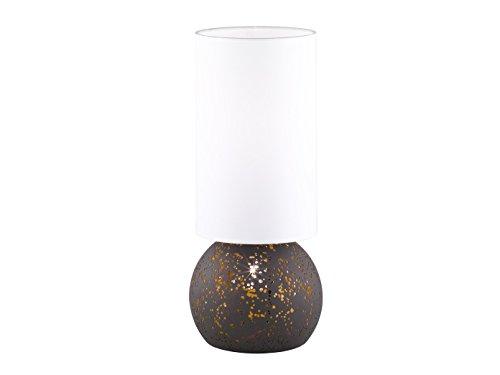 Retro tafellamp AVILA met LED-lampen, antiek bruin met witte stoffen kap, hoogte 50 cm, 2x E27-vat, Wofi