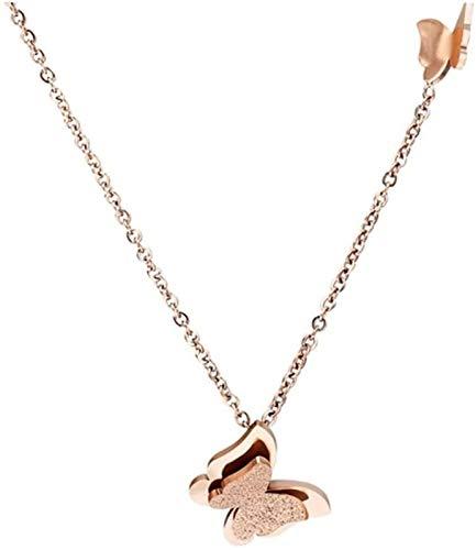 XCHJY Joyería Rose Oro Oro Arco Joyas Juego de Joyas Doble Capa Mariposa Acero Inoxidable Joyería Helada Caja de Regalo (Color : 60cm, Size : Rose Gold Necklace)