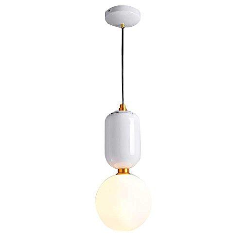 Moderne Lustre Décor Style Minimaliste Petite Boule En Verre Pendentif Intérieur Lampe Loft Pendentif Lampe Pendentif Lampe Plafond Spotlights G9 Hauteur Réglable Edison Ampoule Salon De Fer (Blanc)
