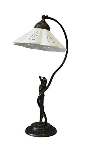 Tafellamp abat-jour van messing met witte keramische fitting