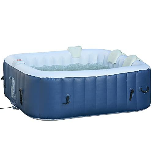 Outsunny Whirlpool für 2-4 Personen Heizung Bubble Spa 910L Inkl. Abdeckung In- & Outdoor Weiß+Blau 185 x 185 x 65 cm