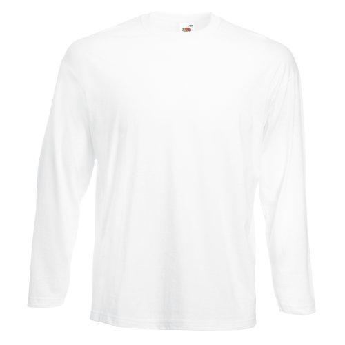 Camiseta de manga larga y cuello redondo para hombre de Fruit of the Loom Blanco blanco Small