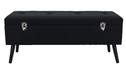 Happy Home Company 12459 zitbank kist stof bank met opbergvak ottoman in kofferdesign - zwart