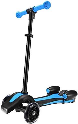Kinderen kick scooter New patroon LED-lamp Rocket vorm Charge spuiten PU 3 wielen LED outdoor sport Bodybuilding, Licht oranje Leuk speelgoed voor kinderen. (Color : Blue)