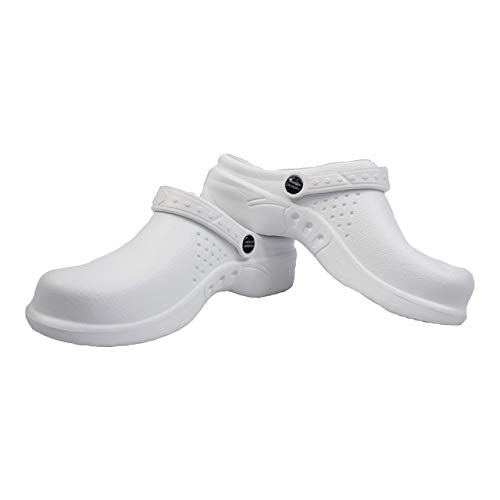 Natural Uniforms Ultralite Women's Clogs with Strap, Medical Work Mule (Size 7, White)