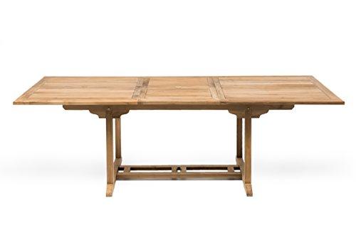 tavolo da giardino teak RSPL Tavolo da Esterno in Vero Teak Naturale 180 cm allungabile a 240 - arredo Giardino Stile Inglese Promo