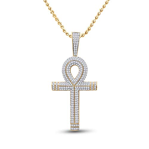 Diamond Necklace Chain 10kt Yellow Gold Mens Round Ankh Cross Charm Pendant 2-1/5 Cttw