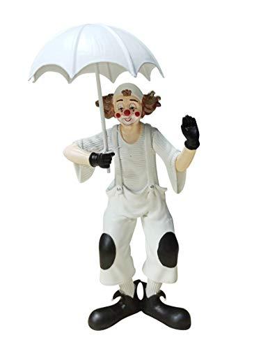 Oberle Dekofigur Clown mit Schirm schwarz weiß 20,5 cm Figur Karneval Köln Harlekin