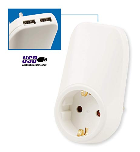 MC POWER - USB Adapter Steckdose/Zwischenstecker | mit 2x USB, 5V max 2,1A, Steckdose 230V/16A