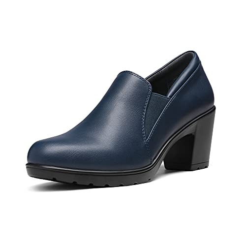 DREAM PAIRS Women's DPU214 Chunky Low Block Heel Pumps Comfort Oxfords Shoes Casual Loafers Navy Size 8.5 M US