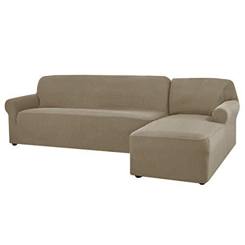 CHUN YI L Forma sofá Cubierta elástica Jaqurard Tela seccional Cubre sofá Cubiertas, Protector de Muebles de Elastano Duradero (Silla Derecha, Madera de Avellana)