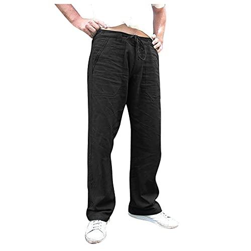 Men's Summer Solid Color Fashionable Pantalones de chándal con cordón Recto de Tejido Liso de Lino de algodón para Hombre de Verano Pantalones de Jogging Pantalones Leisure Casual Pants