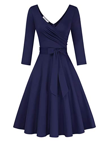 KOJOOIN Damen Vintage 50er V-Ausschnitt Abendkleid Rockabilly Retro Kleider Hepburn Stil Cocktailkleid Langarm Dunkelblau (Langarm) 【EU 42-44】/L