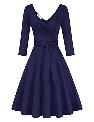 KOJOOIN Damen Vintage 50er V-Ausschnitt Abendkleid Rockabilly Retro Kleider Hepburn Stil Cocktailkleid Langarm Dunkelblau (Langarm) 【EU 48】/XXL