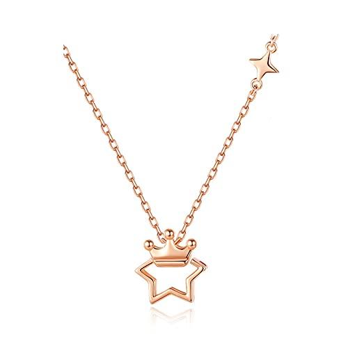 Hong Yi Fei-Shop Collares Collar de Plata esterlina Estrella Corona Cadena de clavícula Collar Simple Hembra Memorial Colgante luz Regalo de Lujo Collares para Mujeres
