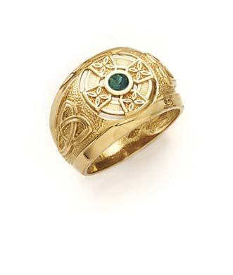 14ct Yellow Gold Irish Claddagh Celtic Trinity Knot Religious Faith Cross Synthetic Emerald Mens Ring Size T 1/2 Jewelry Gifts for Men