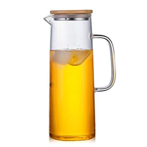 Jarra de vidrio con tapa de bambú, alta resistencia al calor, botella segura para agua caliente/fría y té helado (tamaño: 1500 ml/55 onzas)